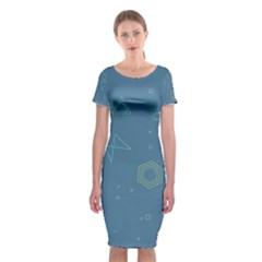 Geometric Debris In Space Blue Classic Short Sleeve Midi Dress