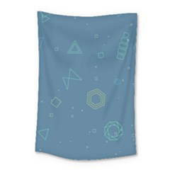 Geometric Debris In Space Blue Small Tapestry