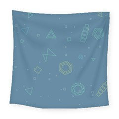 Geometric Debris In Space Blue Square Tapestry (large)