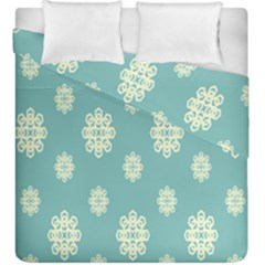 Geometric Snowflake Retro Snow Blue Duvet Cover Double Side (king Size)