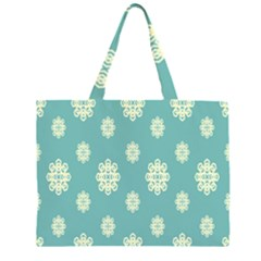 Geometric Snowflake Retro Snow Blue Large Tote Bag