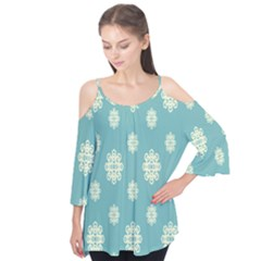 Geometric Snowflake Retro Snow Blue Flutter Tees