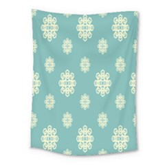 Geometric Snowflake Retro Snow Blue Medium Tapestry