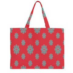 Geometric Snowflake Retro Red Large Tote Bag