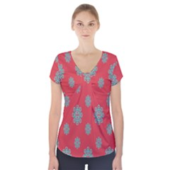 Geometric Snowflake Retro Red Short Sleeve Front Detail Top