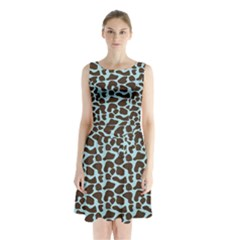 Giraffe Skin Animals Sleeveless Chiffon Waist Tie Dress