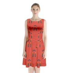 Headphones Red Sleeveless Chiffon Waist Tie Dress