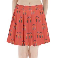 Headphones Red Pleated Mini Skirt