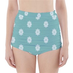 Geometric Snowflake Retro Snow High-Waisted Bikini Bottoms