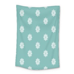 Geometric Snowflake Retro Snow Small Tapestry