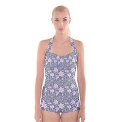Gray Flower Floral Flowering Leaf Boyleg Halter Swimsuit