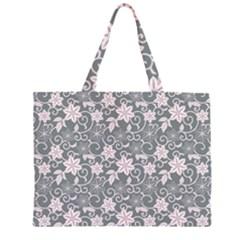 Gray Flower Floral Flowering Leaf Large Tote Bag
