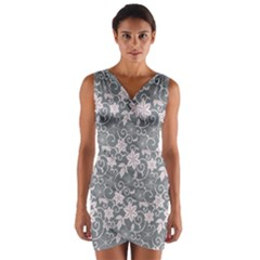 Gray Flower Floral Flowering Leaf Wrap Front Bodycon Dress