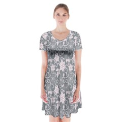Gray Flower Floral Flowering Leaf Short Sleeve V-neck Flare Dress