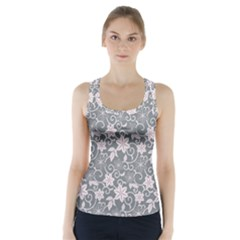 Gray Flower Floral Flowering Leaf Racer Back Sports Top
