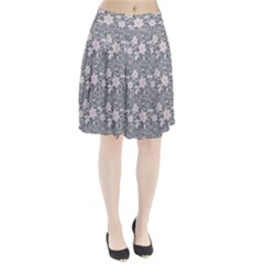 Gray Flower Floral Flowering Leaf Pleated Skirt