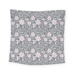 Gray Flower Floral Flowering Leaf Square Tapestry (small)