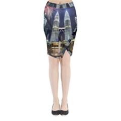 New Years Eve Petronas Towers Kuala Lumpur Malaysia Midi Wrap Pencil Skirt