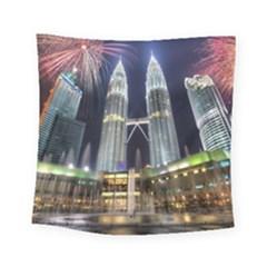 New Years Eve Petronas Towers Kuala Lumpur Malaysia Square Tapestry (Small)