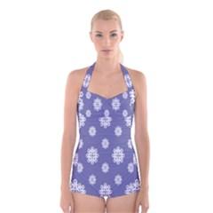 Geometric Snowflake Retro Purple Boyleg Halter Swimsuit