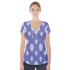 Geometric Snowflake Retro Purple Short Sleeve Front Detail Top