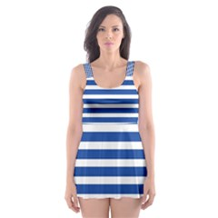 Horizontal Stripes Dark Blue Skater Dress Swimsuit