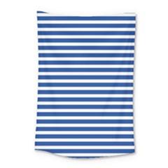 Horizontal Stripes Dark Blue Small Tapestry