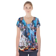 New York City Short Sleeve Front Detail Top