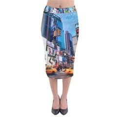 New York City Velvet Midi Pencil Skirt
