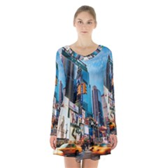 New York City Long Sleeve Velvet V Neck Dress