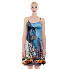 New York City Spaghetti Strap Velvet Dress