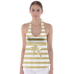 Horizontal Stripes Dark Brown Grey Babydoll Tankini Top