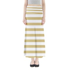 Horizontal Stripes Dark Brown Grey Maxi Skirts