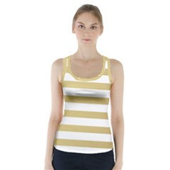 Horizontal Stripes Dark Brown Grey Racer Back Sports Top