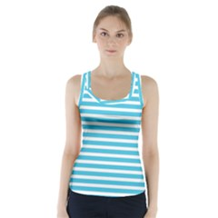 Horizontal Stripes Blue Racer Back Sports Top
