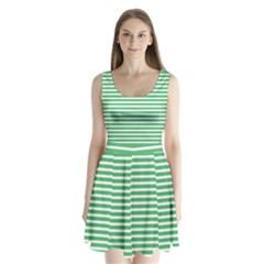 Horizontal Stripes Green Split Back Mini Dress