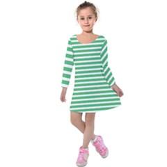 Horizontal Stripes Green Kids  Long Sleeve Velvet Dress