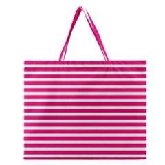 Horizontal Stripes Hot Pink Zipper Large Tote Bag