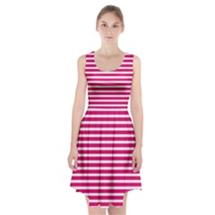 Horizontal Stripes Hot Pink Racerback Midi Dress