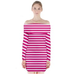 Horizontal Stripes Hot Pink Long Sleeve Off Shoulder Dress