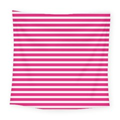 Horizontal Stripes Hot Pink Square Tapestry (large)
