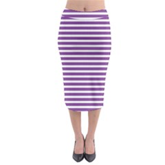 Horizontal Stripes Purple Midi Pencil Skirt