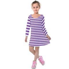 Horizontal Stripes Purple Kids  Long Sleeve Velvet Dress