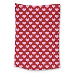 Hearts Love Valentine Pink Day Happy Wallpaper Large Tapestry