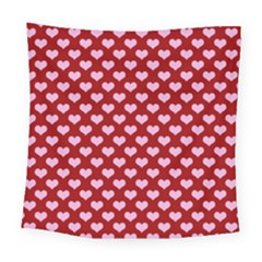 Hearts Love Valentine Pink Day Happy Wallpaper Square Tapestry (large)