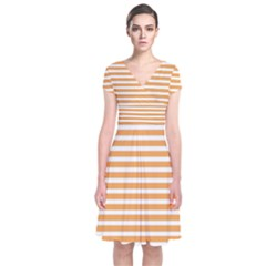 Horizontal Stripes Orange Short Sleeve Front Wrap Dress