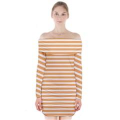 Horizontal Stripes Orange Long Sleeve Off Shoulder Dress