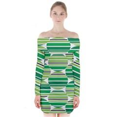 Mint Green Long Sleeve Off Shoulder Dress