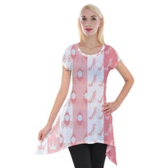 Modelos Toppers Princesa Handcrafted Studio Train King Pink Short Sleeve Side Drop Tunic