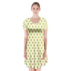 Imprimir Pinterest Vintage Mannequin Heart Short Sleeve V-neck Flare Dress